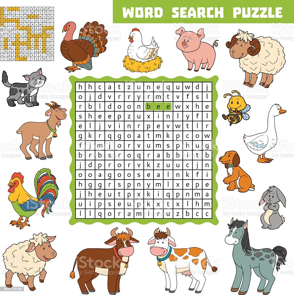 Vector color crossword about farm animals. Word search puzzle vector art illustration