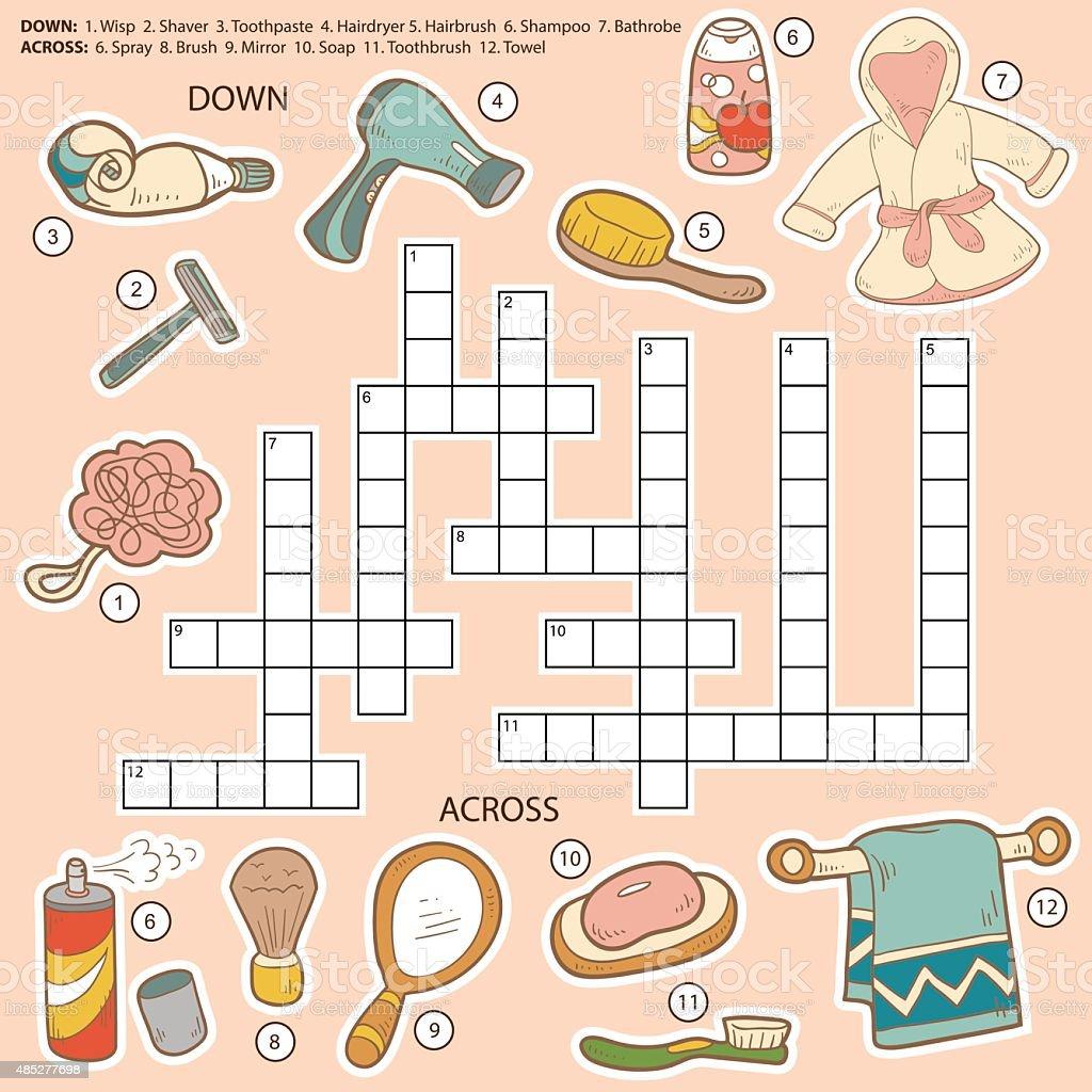Vektor Farbe Kreuzworträtsel, Bildung Spiel Für Kinder über Badezimmer,  Lizenzfreies Vektor Illustration