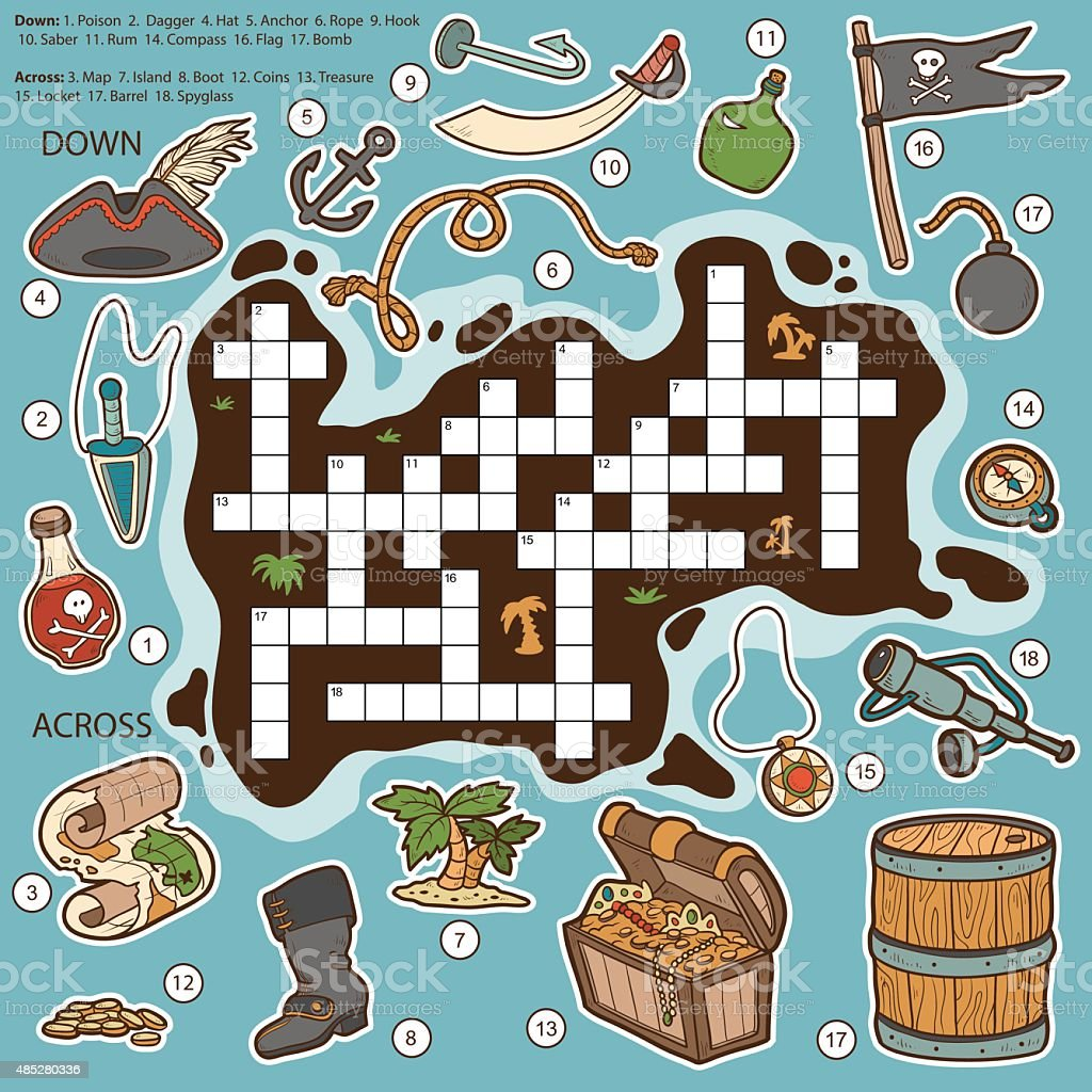 Game with shapes of different colors crossword -  Vector Color Crossword Education Game For Children About Pirate