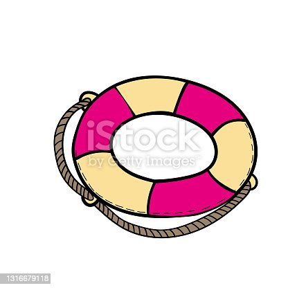 istock vector color doodle Lifebuoy icon Element of travel 1316679118