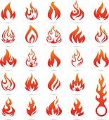 Vector Color Fire and Flame icon set - Illustration