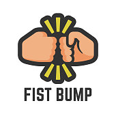 Vector color fist bump flat icon of two clash hand or together fight for business debate, people dispute and punch illustration.