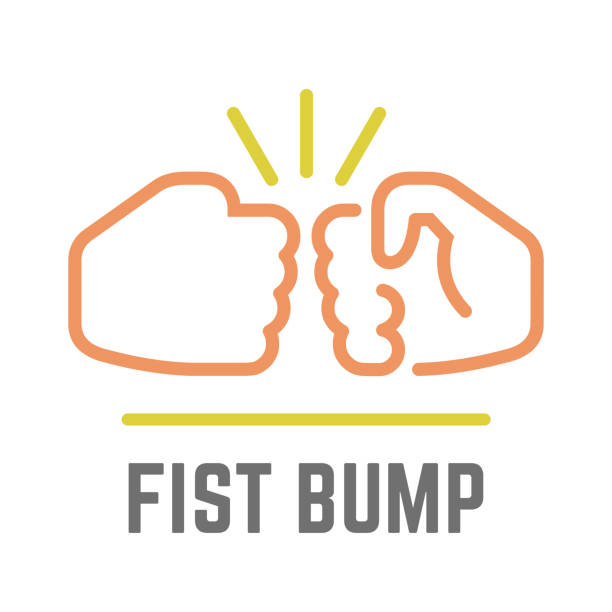 Vector color fist bump line icon of two power hand or together punch for business deal, people clash and impact illustration. Vector color fist bump line icon of two power hand or together punch for business deal, people clash and impact illustration. aggression stock illustrations