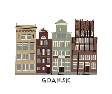 Vector color hand drawn illustration with an old town city cute house panorama. Gdansk, Poland.