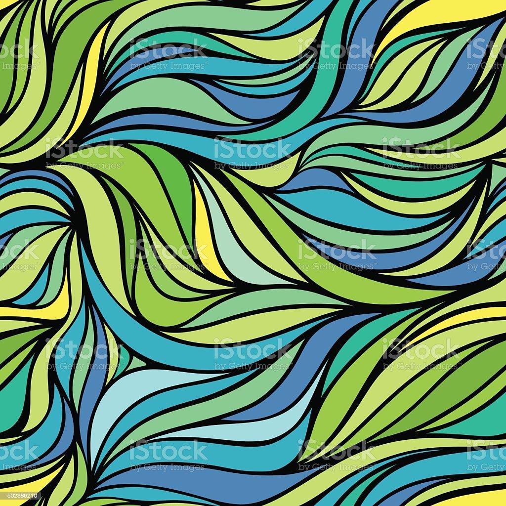 Colore A Mano Vettoriale Disegnare Vernice Onda Di Mare Sullo Sfondo