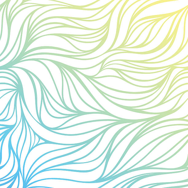 Vecteur couleur dessin à la main, fond de vagues de la mer. - Illustration vectorielle
