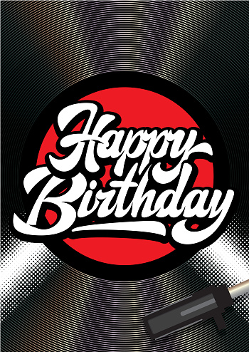 Vector color illustration of a vinyl player and calligraphic inscription Happy Birthday