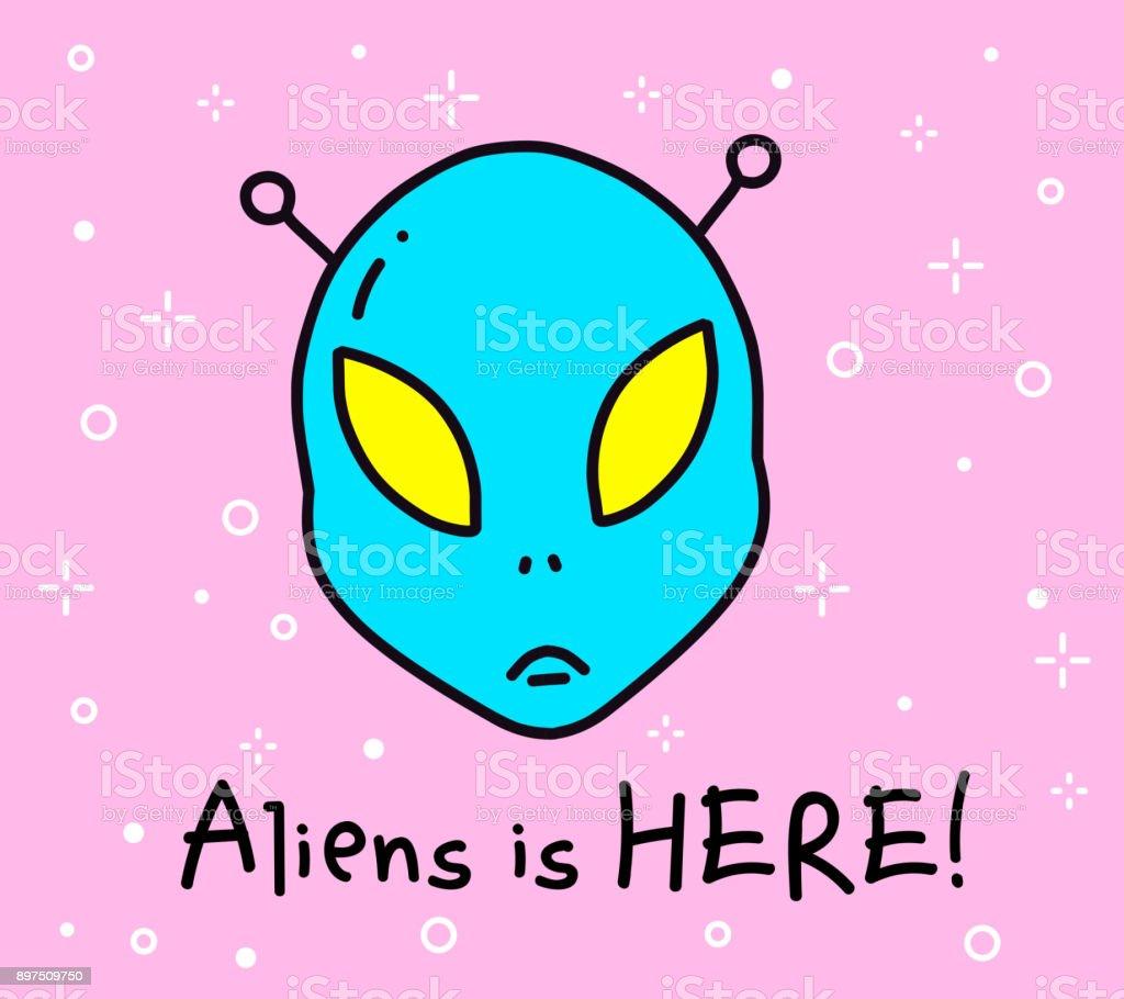 Vector Color Illustration Of Blue Color Alien Head Cartoon Fantastic