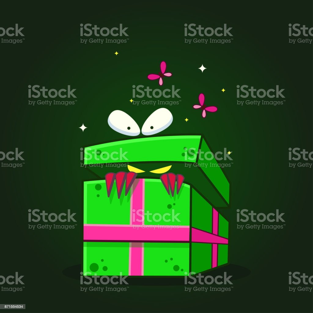 Vector Color Illustration Of Cartoon Monster Who Looking Inside Out