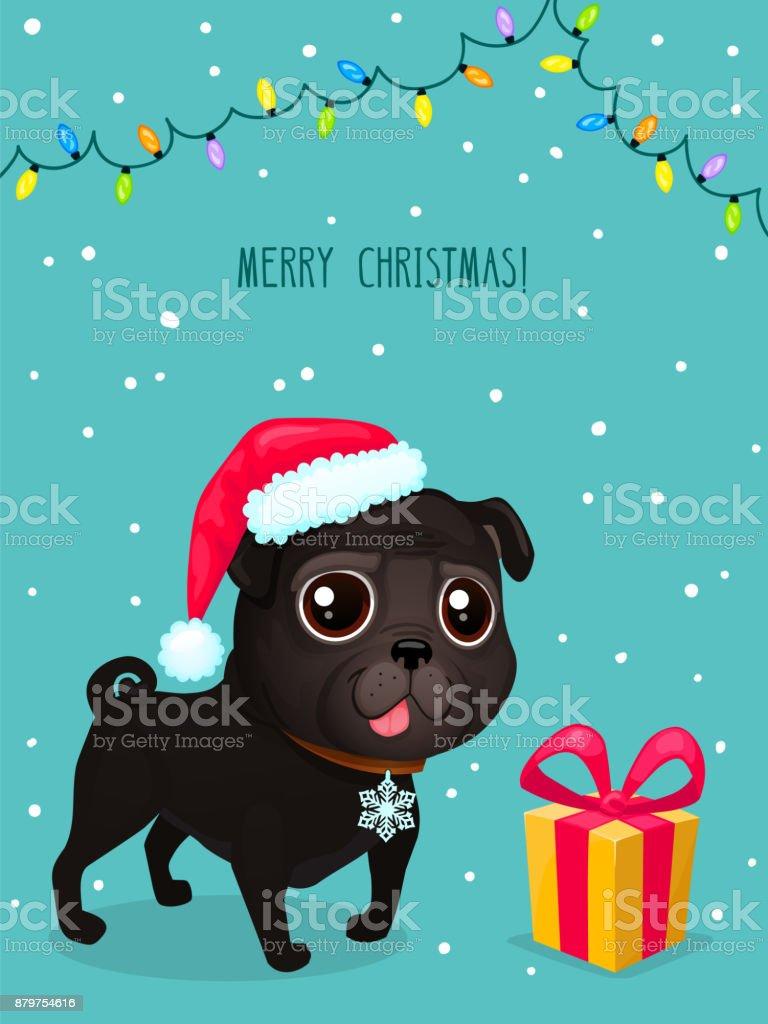 Vector Color Illustration Of Christmas Dog Christmas Card Cute Black