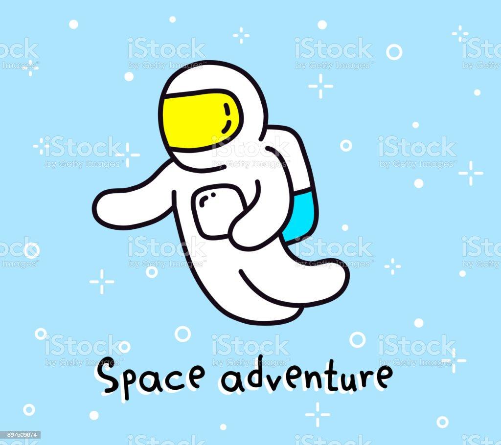 Illustration vectorielle couleur de l'aventure spatiale. Astronaute de dessin animé dans un scaphandre de vol dans l'espace. Objet de Cosmos sur fond de ciel bleu. - Illustration vectorielle