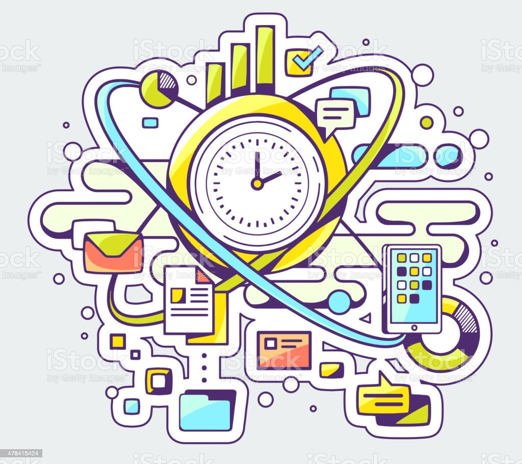 Vector color illustration of time and business processes vector art illustration