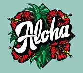 istock Vector color illustration with Aloha lettering, palm leaves and hibiscus 1264224291