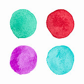 Vector Color Isolated Watercolor Circles Set