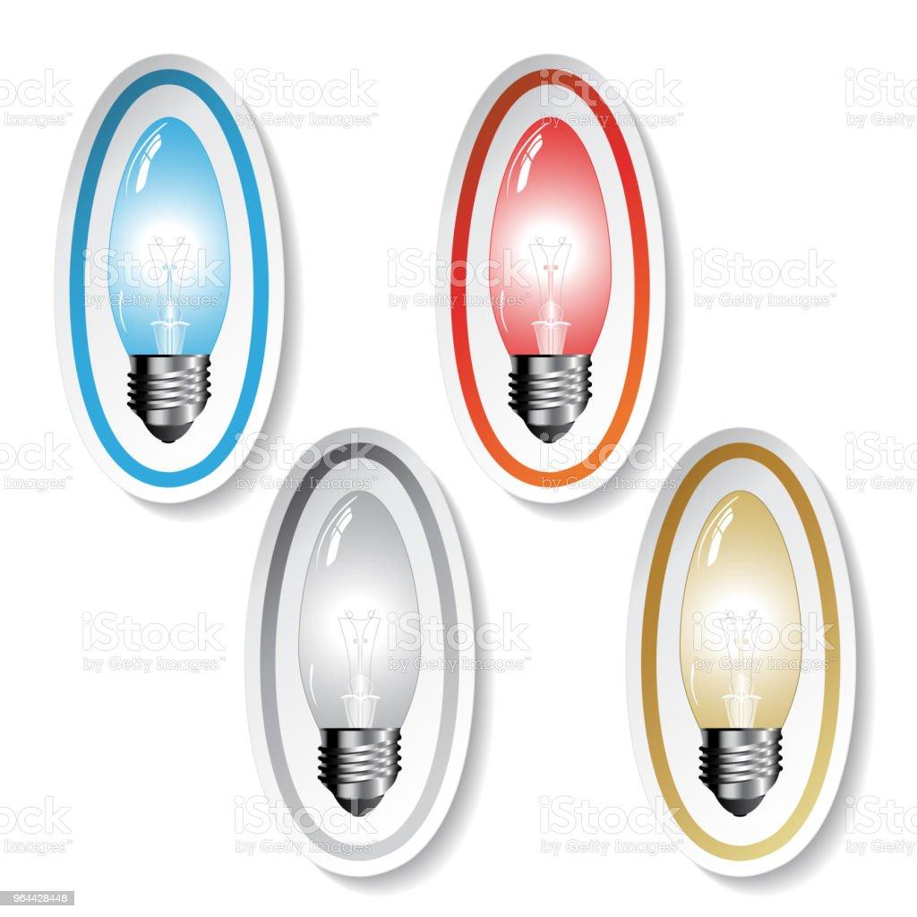 Símbolos de lâmpada vector cor, adesivos - Vetor de Azul royalty-free