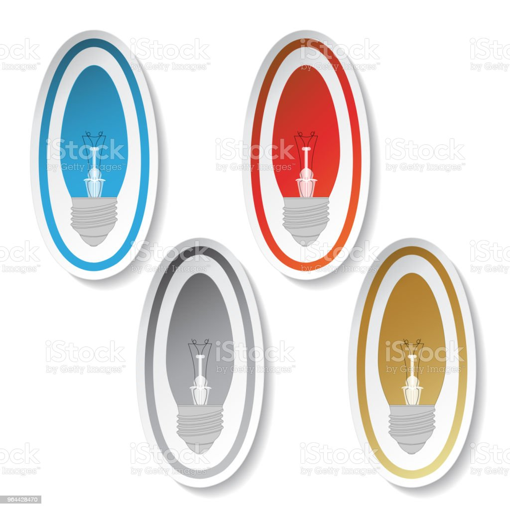 Vector color lightbulb symbols, stickers - Royalty-free Adhesive Note stock vector