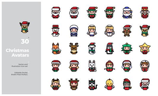 Vector Color Line Icons Set of Christmas Avatar. Editable Stroke.