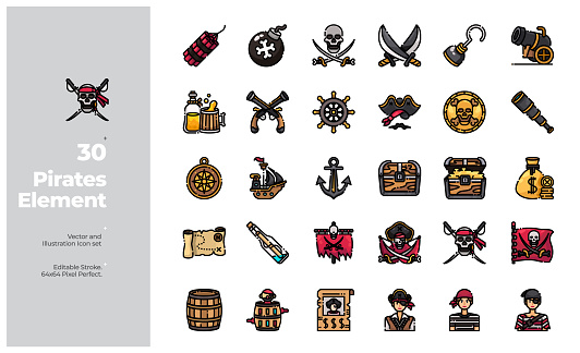 Vector Color Line Icons Set of Pirates Element. Editable Stroke.