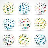 Vector color polka dots sphere pattern symbol collection