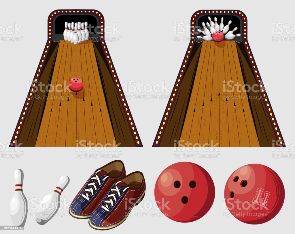 Vector color set of bowling game elements for use in design, print, internet vector color set of bowling game elements for use in design print internet - stockowe grafiki wektorowe i więcej obrazów banner internetowy royalty-free