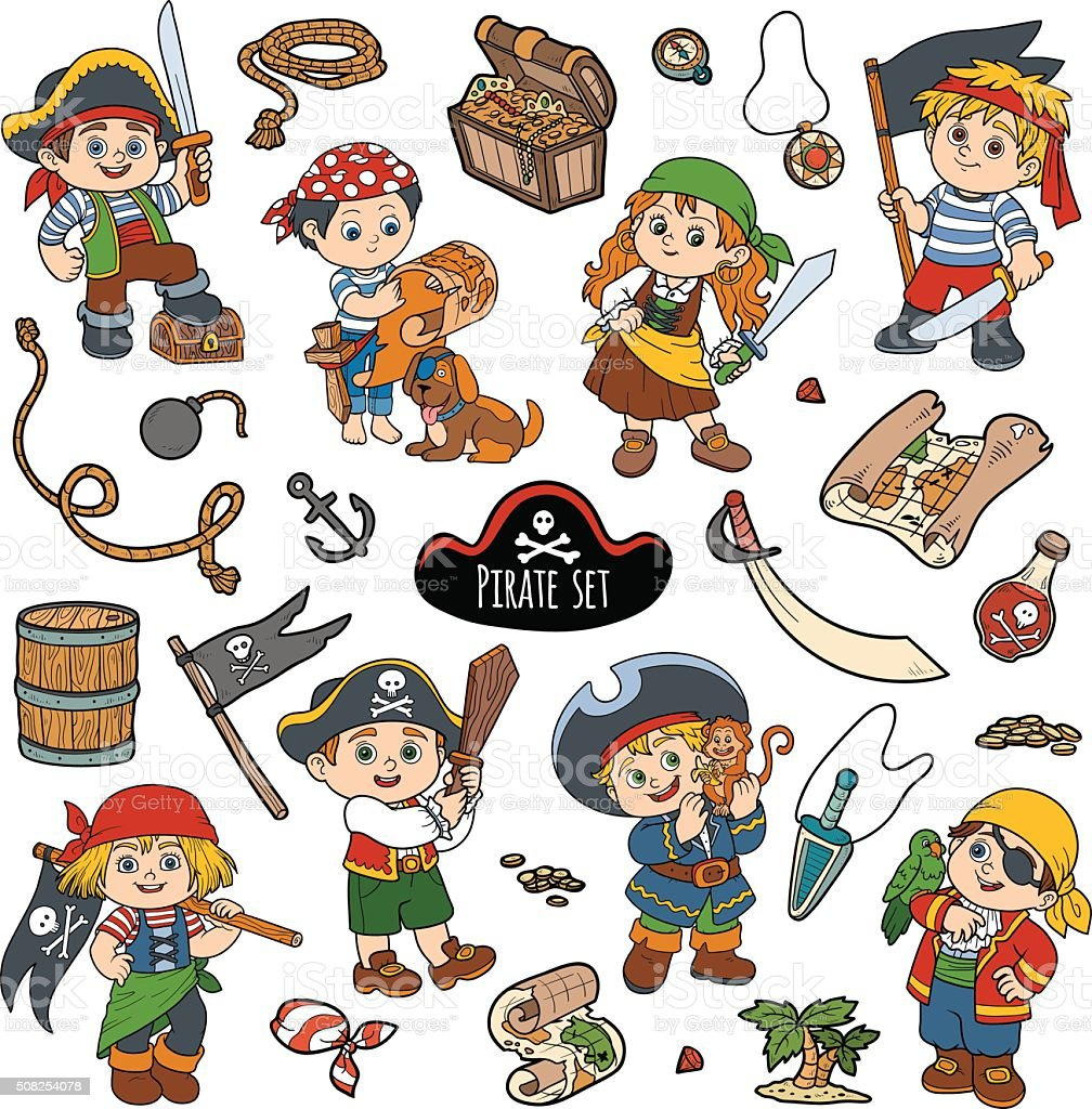 vector color set of pirate items and characters of pirates stock