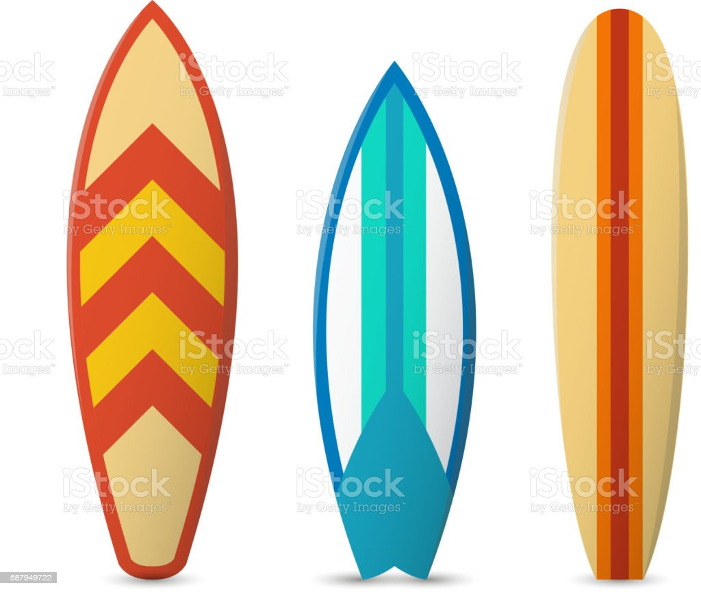 Vector color surfboard set vector art illustration