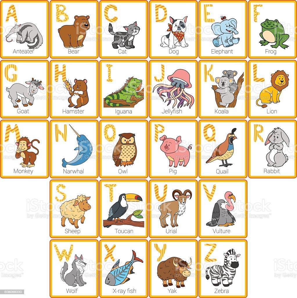 Conhecido Vector Cor Fofinho Alfabeto Com Animais De Zoológico - Arte  AP54