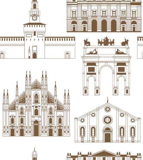 illustrazioni stock, clip art, cartoni animati e icone di tendenza di vector colored background with famous milan landmarks - milan