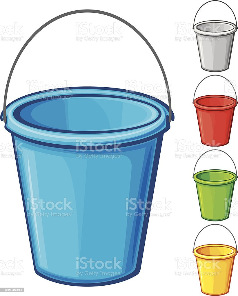 vector colored bucket with handle vector art illustration