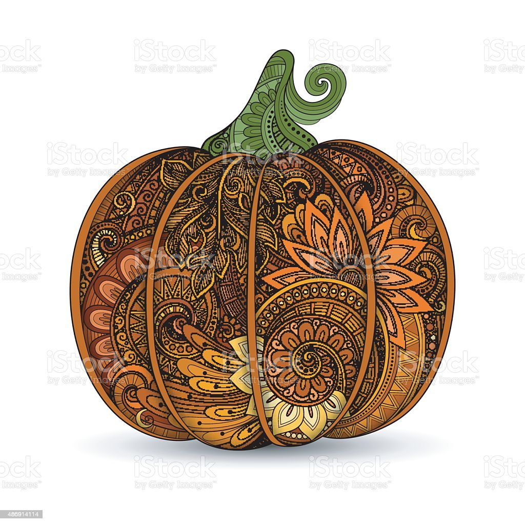 Vector Colored Decorative Punkim with Beautiful Pattern vector art illustration