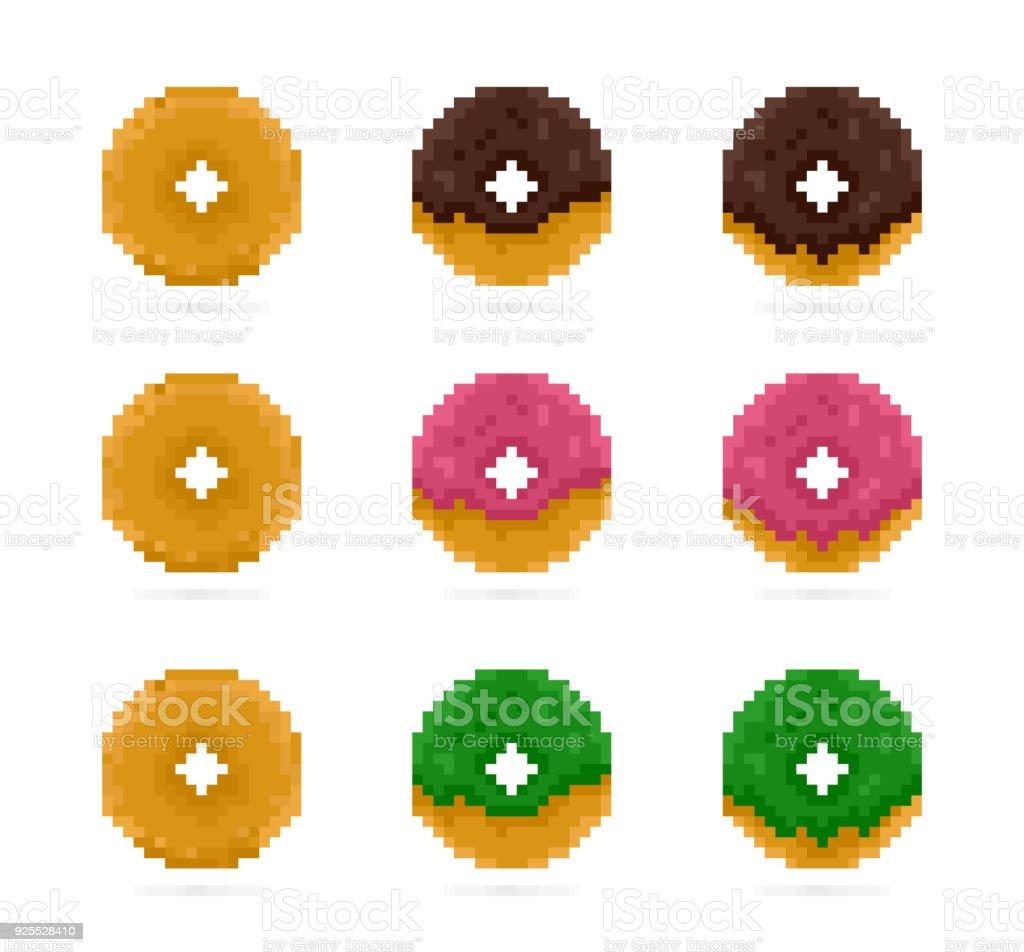 Vecteur Couleur Beignes Dans Le Style De Pixel Art Rose Vert