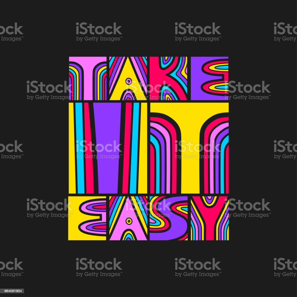 """Vector colored hand-drawn lettering poster """"Take it easy"""" on a black background. - Royalty-free Abstract stock vector"""