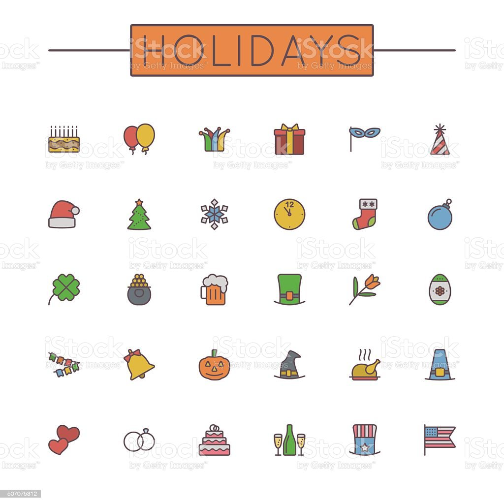 Vector Colored Holidays Line Icons vector art illustration