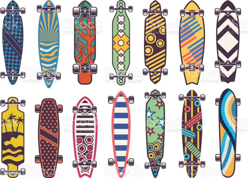 Vector colored illustrations on skateboards vector art illustration