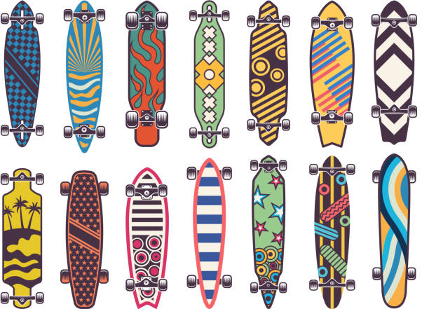vector colored illustrations on skateboards - skateboard stock illustrations