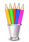 Vector colored pencils in the holder