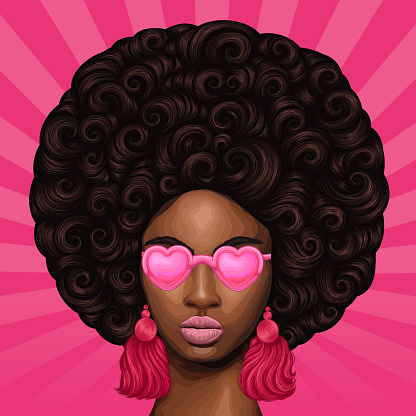 Vector colored portrait of a African girl with magnificent curly afro hairstyle in retro style. Close-up face fashion model in pink heart shaped glasses with earrings tassels. Pop Art sun rays back