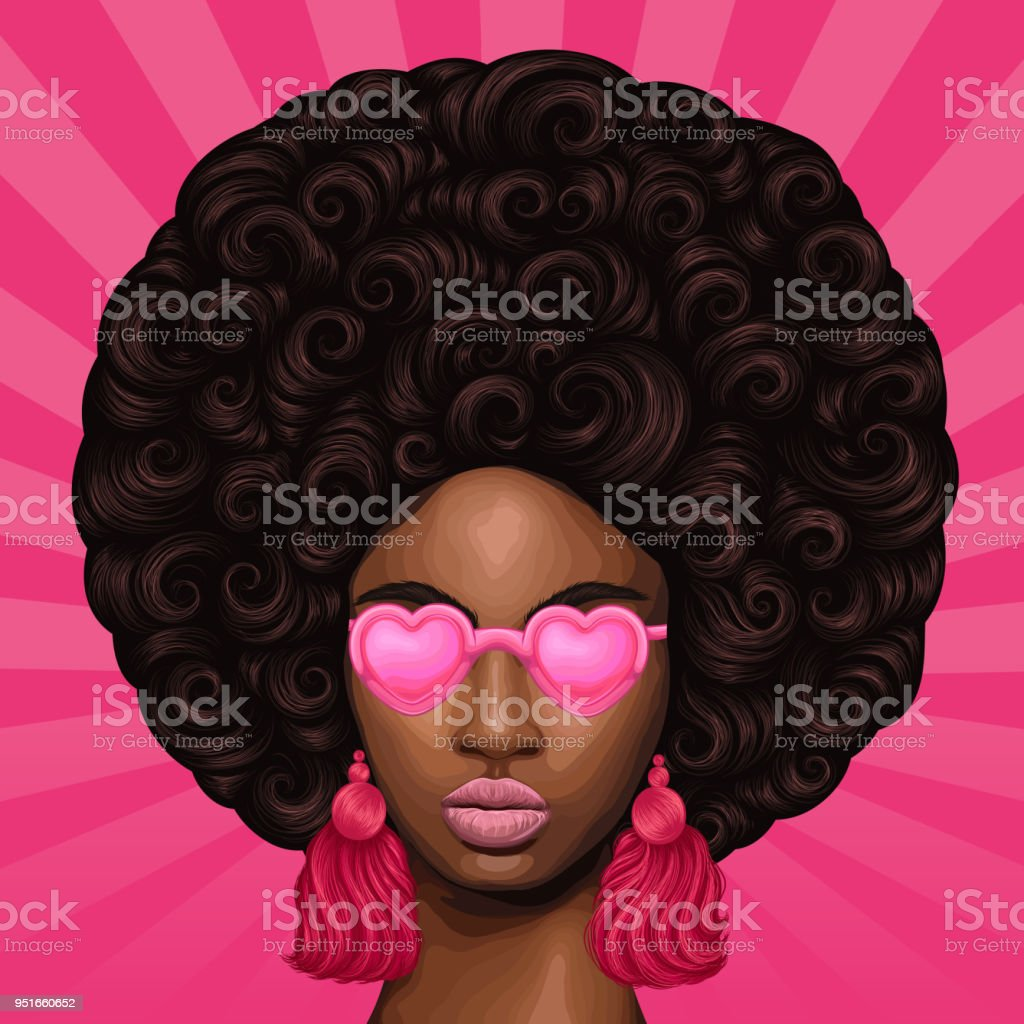 Vector colored portrait of a African girl with magnificent curly afro hairstyle in retro style. Close-up face fashion model in pink heart shaped glasses with earrings tassels. Pop Art sun rays back vector art illustration
