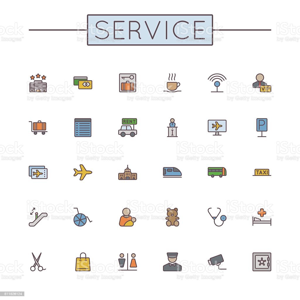 Vector Colored Service Line Icons vector art illustration