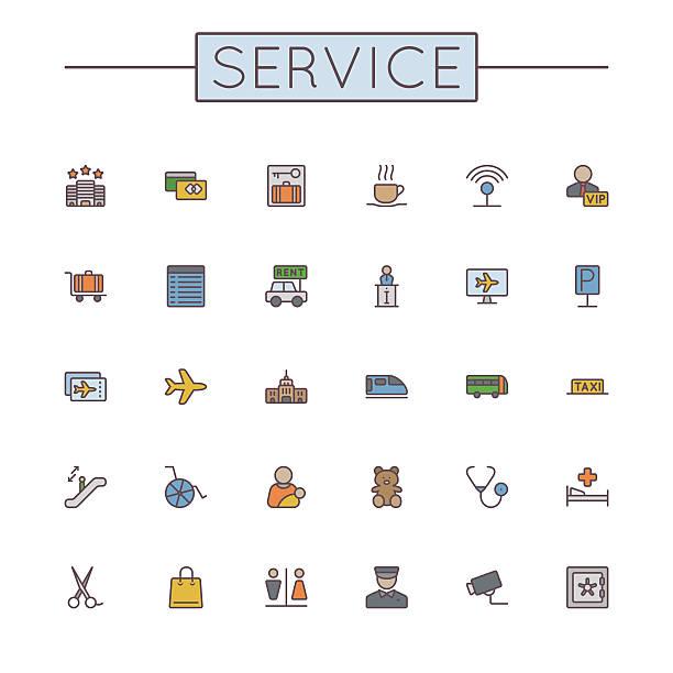 Vektor-Farbige Service-Line Symbole – Vektorgrafik