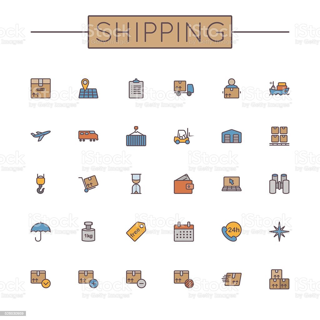 Vector Colored Shipping Line Icons vector art illustration