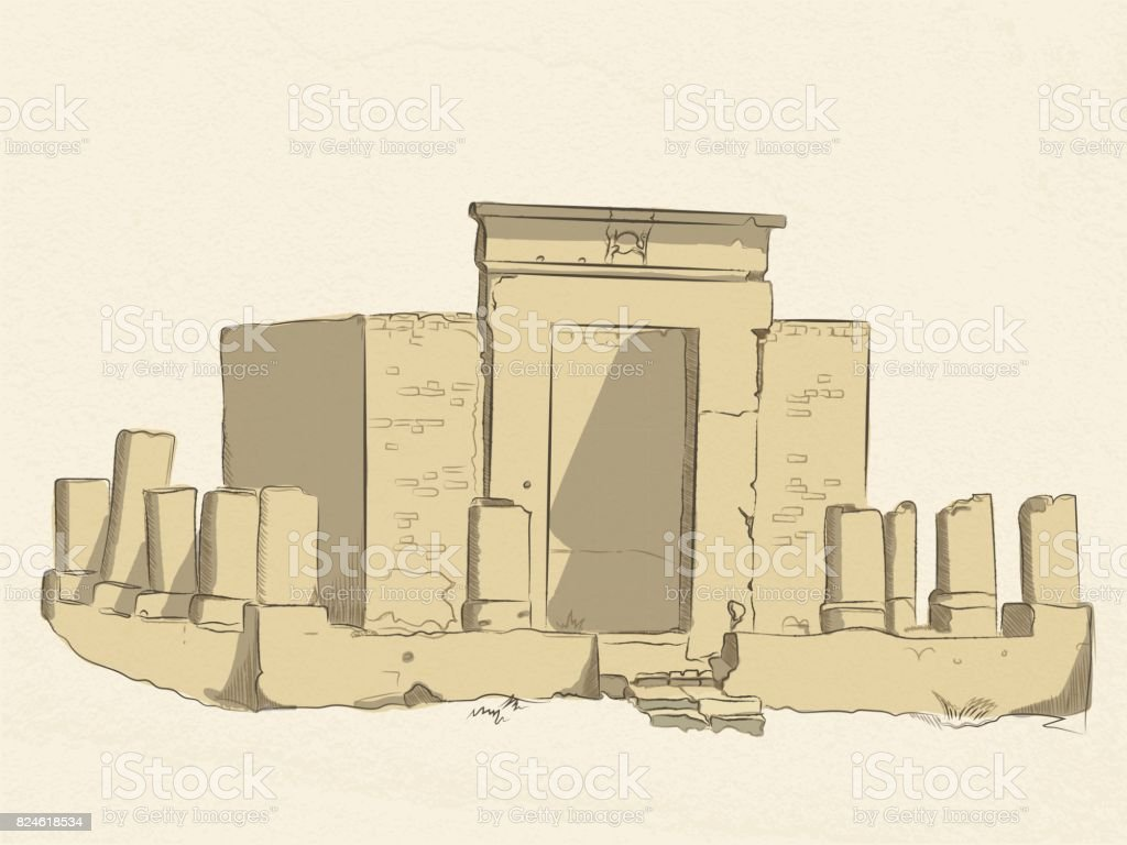 vector colored sketch of the ruins of a Christian sanctuary in the temple of Amun-RA in Luxor. Egypt. on old paper background. vector art illustration