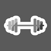 Vector colored sticker  image dumbbells.  White vector icon. Layers grouped for easy editing illustration.  For your design.
