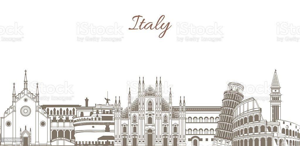 vector colored template with composition with famous landmarks of Italy vector art illustration