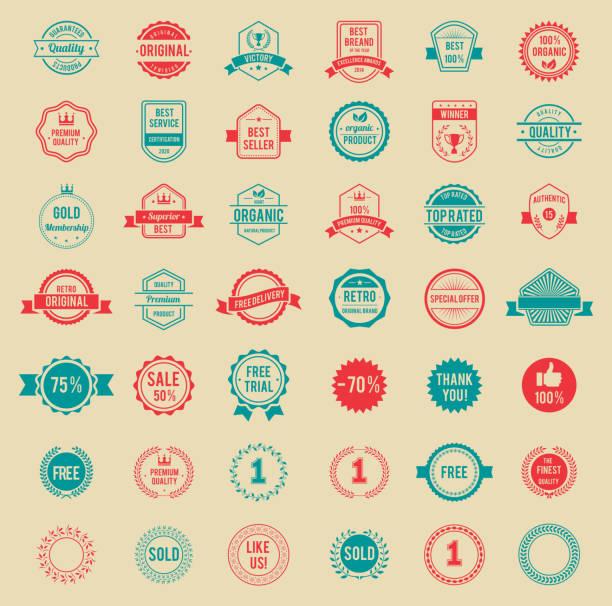 vektor bunten vintage-abzeichen und etiketten - belohnungstafel stock-grafiken, -clipart, -cartoons und -symbole