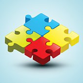 Vector Colorful 3D Puzzle Illustration