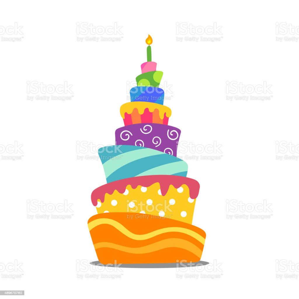Vector Colorful Abstract Birthday Cake Stock Vector Art More