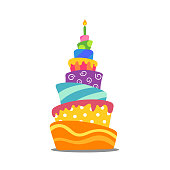 Vector Illustration of a Colorful Abstract Birthday Cake