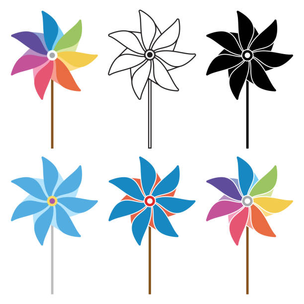 vector colorful and black and white pinwheel set vector colorful and black and white pinwheel set weather vane stock illustrations