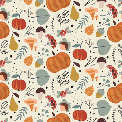Vector colorful autumn natural seamless pattern with fall leaves, fruits, pumpkins and mushrooms